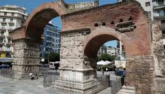 People near ancient Arch of Galerius in Thessaloniki, Greece Stock Footage
