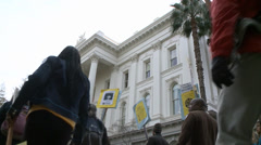 Stock Video Footage of Rally Protestors at California State Capitol HD High Definition 1080