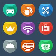 hotel services icons set flat iu - stock illustration