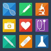 medical icons flat ui - stock illustration