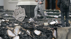 Burned documents at door of the prosecutor's office Stock Footage
