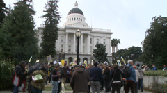California state capitol rally with protestors wide shot HD Stock Footage