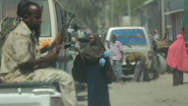 Stock Video Footage of following truck with armed Somali soldiers