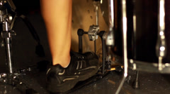 Closeup of drummer's foot moving drum bass pedal Stock Footage