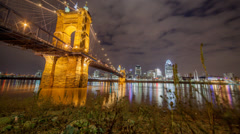 Beautiful Bridge Downtown Cincinnati Skyline Epic Motion Control Night Timelapse Stock Footage