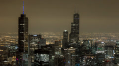 Amazing Chicago Skyline City View High Above at Night with Clouds Stock Footage