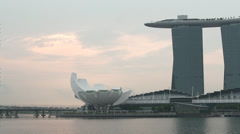 Ime Lapse of clouds rolling by Marina Bay Sands Singapore Stock Footage