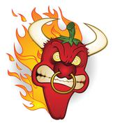 Raging Bull Chili Pepper Cartoon Character Stock Illustration