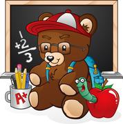 School Student Teddy Bear Cartoon Character Stock Illustration