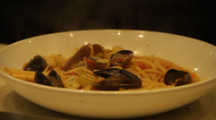 Seafood pasta in Fancy Restaurant  Stock Footage