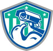 eagle security cctv camera retro shield - stock illustration