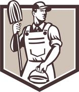 Janitor cleaner holding mop bucket shield retro Stock Illustration