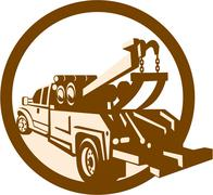 Stock Illustration of tow truck wrecker rear retro