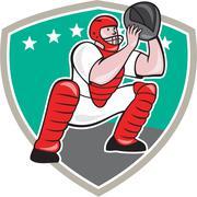 Stock Illustration of baseball catcher catching shield cartoon