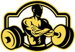 Weightlifter arms crossed barbell retro Stock Illustration