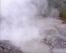 Sulphur Caldron mud pool in Yellowstone National Park Stock Footage