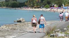 St Croix Island tourist walk to beach HD 1115 Stock Footage