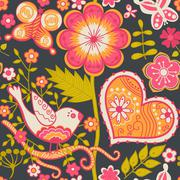 seamless texture with flowers and butterflies. endless floral pattern. valent - stock illustration