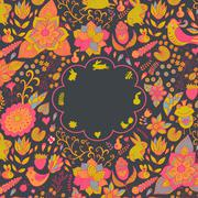 Vintage retro background with floral ornament, empty space the middle.you can Stock Illustration