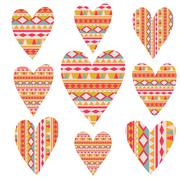 Vector tribal  hearts set,  aztec vintage folklore background pattern in vect Stock Illustration
