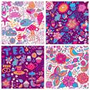 Stock Illustration of set of four colorful floral vector pattern.copy each square to the side,you'l