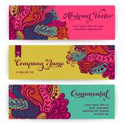Vector stylish floral banners. bright doodle cartoon cards in vector. abstrac Stock Illustration