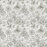 Romantic doodle floral texture. copy that square to the side and you'll get s Stock Illustration