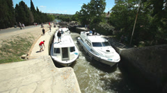 Fonserranes locks on June 22, 2013 on the Canal du Midi, France. Stock Footage