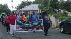 St Croix Martin Luther King Parade marchers HD 1061 Stock Footage