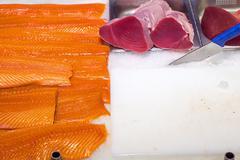 Fresh salmon and tuna filet Stock Photos