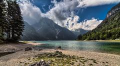 Epic and beautiful view over italian lake - stock photo
