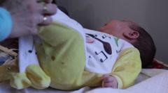 SRBIJA, KRUSEVAC, 06.02.2014. PUBLIC HOSPITAL. Examination of the hip in babies. Stock Footage