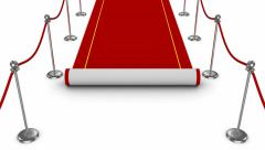 Animated red carpet unrolling Stock Footage