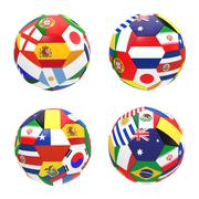 3d render of 4 soccer football representing competition group b on 2014 fifa  - stock illustration