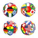 Stock Illustration of 3d render of 4 soccer football representing competition group g on 2014 fifa