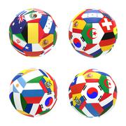 3d render of 4 soccer football representing competition group h on 2014 fifa  - stock illustration