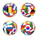 Stock Illustration of 3d render of 4 soccer football representing competition group h on 2014 fifa