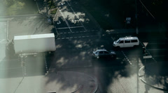 Morning. Road intersection. Slow movement of transport. Top view of the house Stock Footage