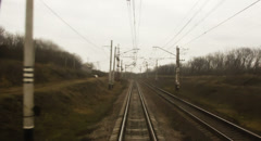 The view from the rear window of the train on the rails. Stock Footage