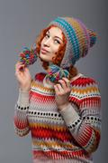 girl in knitted cap - stock photo