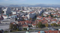 AERIAL: Above the old part of town Stock Footage