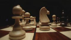 Stock footage chess board and pieces close up Stock Footage