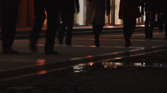 crowdy evening street - stock footage
