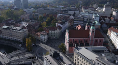AERIAL: City center Stock Footage