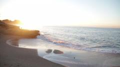 California sunrise beach santa cruz paradise cove sun dawn beautiful sand water  Stock Footage