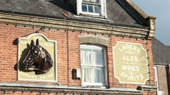The Nags Head (details on a pub front) Stock Footage