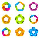 Stock Illustration of abstract logo template set. business star icons. infinite loop shapes.