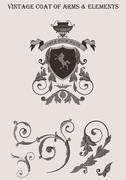 Vintage vignette vector elements. coat of arms. floral classic decor design. Stock Illustration