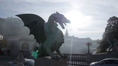AERIAL: Dragon statue in Ljubljana Stock Footage
