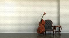 Interior scene with double bass Stock Illustration